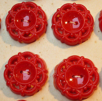 Striking Vintage 1950s Bright Red Buttons- 2cm or 1.7cm