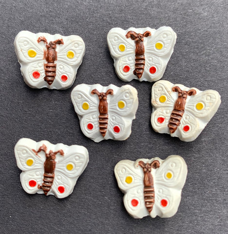 6  White Butterfly Buttons - 1.5cm wide