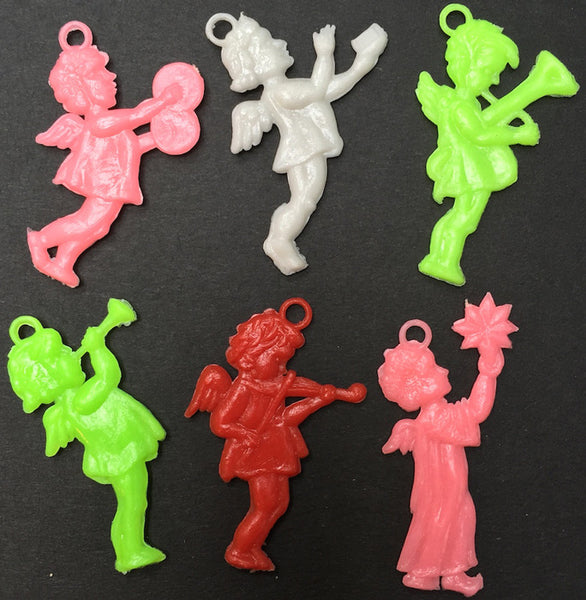 6 Kitsch Vintage Musical Neon Cherub / Angel Charms 4cm tall
