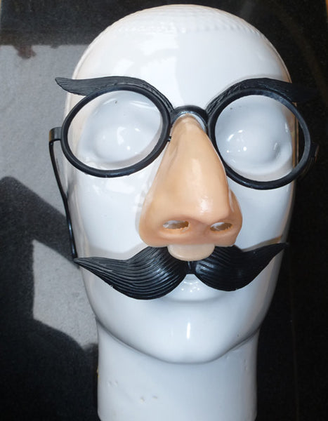 "1970s BIG NOSE Mask with Glasses and Moustache ""A LAUGH RIOT"" Made in Hong Kong"