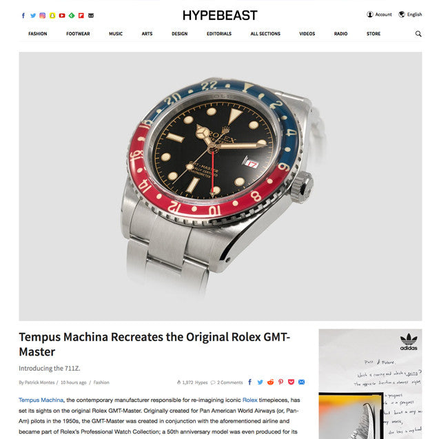 Hypebeast: Tempus Machina Recreates the Original Rolex GMT-Master