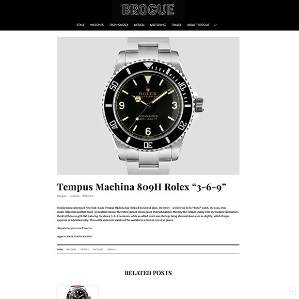 "GetBrogue: Tempus Machina 809H Rolex ""3-6-9"""