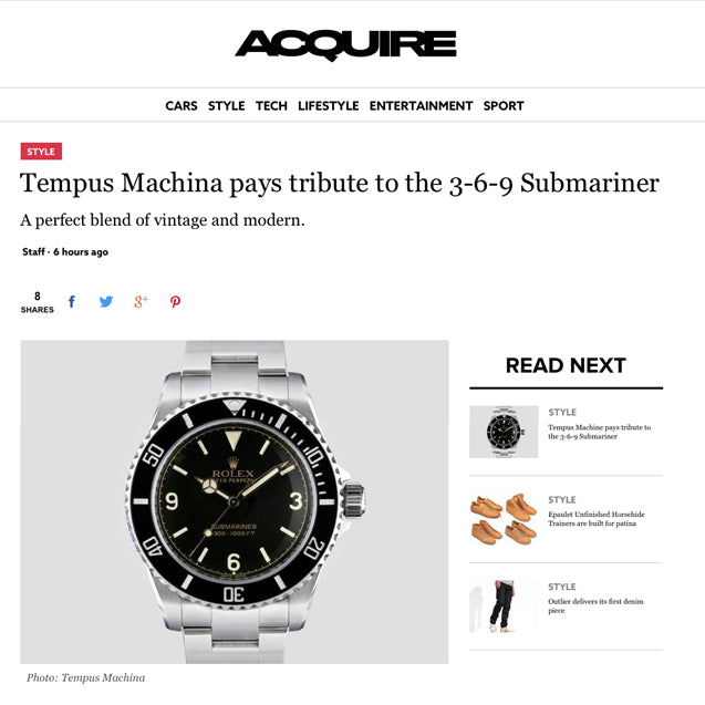 AcquireMag reviews the Tempus Machina 809H Custom Rolex Submariner