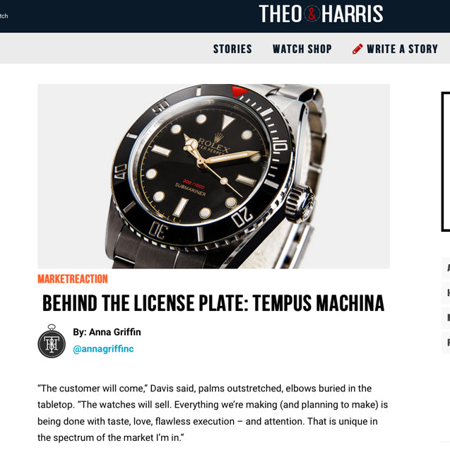 Theo & Harris Interview Tempus Machina Watch Company