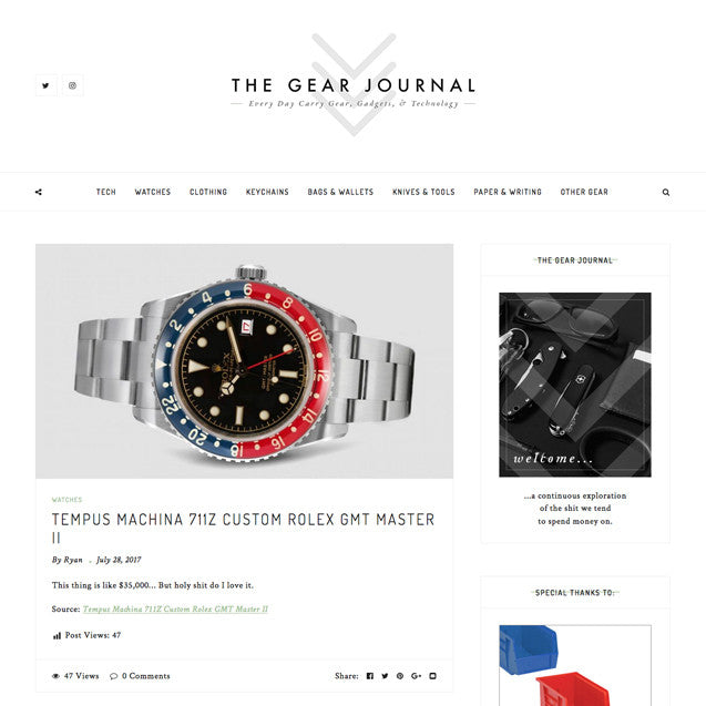 The Gear Journal: Tempus Machina 711Z Custom Rolex GMT Master II