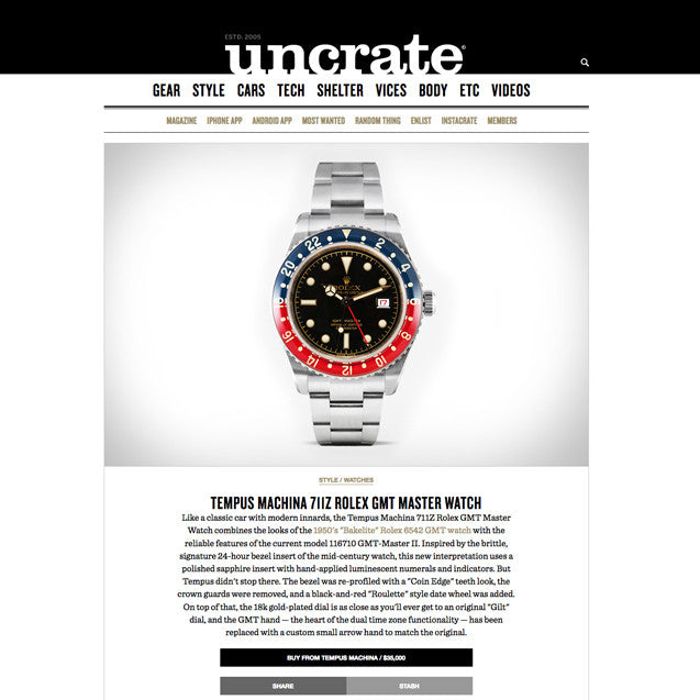 Uncrate: Tempus Machina 711Z Rolex GMT Master Watch