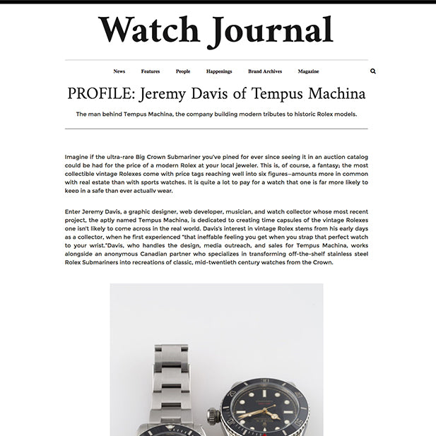 Watch Journal - PROFILE: Jeremy Davis of Tempus Machina