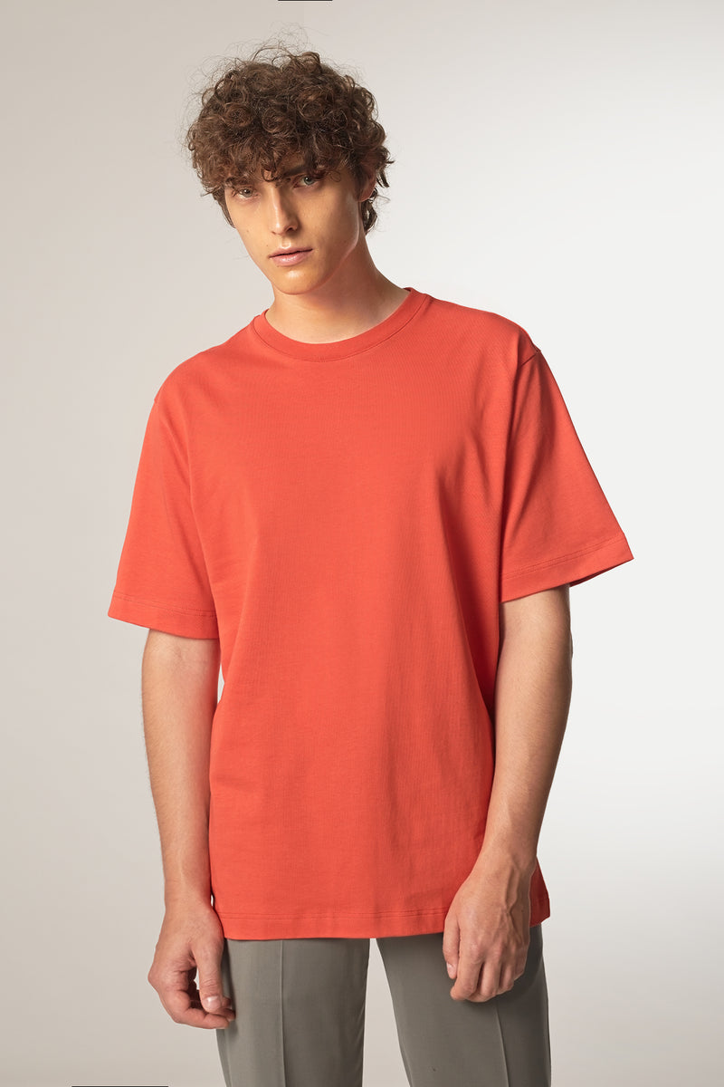 MOVE T-Shirt in Bio-Baumwolle rot Passform relaxed vordere Ansicht