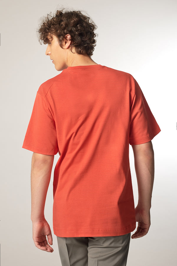 MOVE T-Shirt in Bio-Baumwolle rot Passform relaxed hintere Ansicht