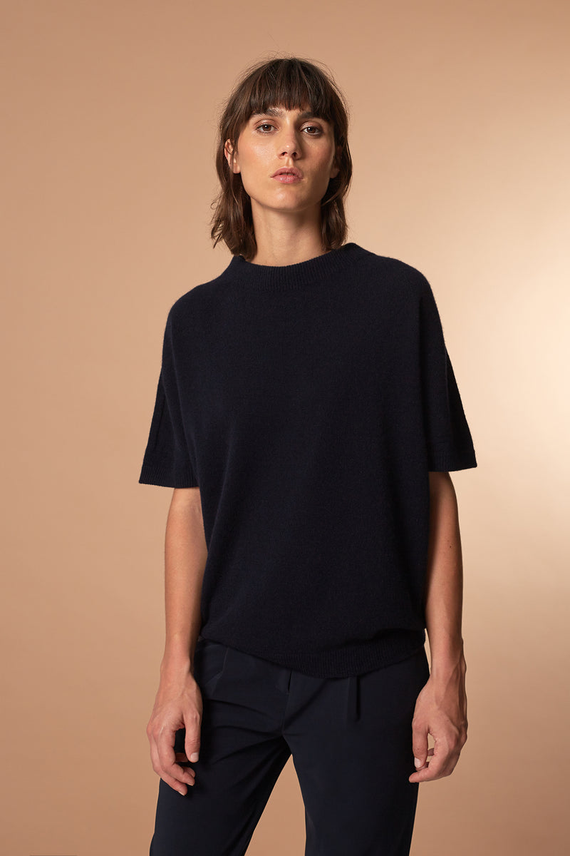 SOOTH T-Shirt in Kaschmir Blau Passform relaxed vordere Ansicht