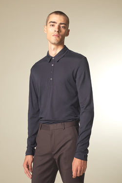 SOURCE Langarm Polo in Kaschmir midnight Passform slimfit vordere Ansicht