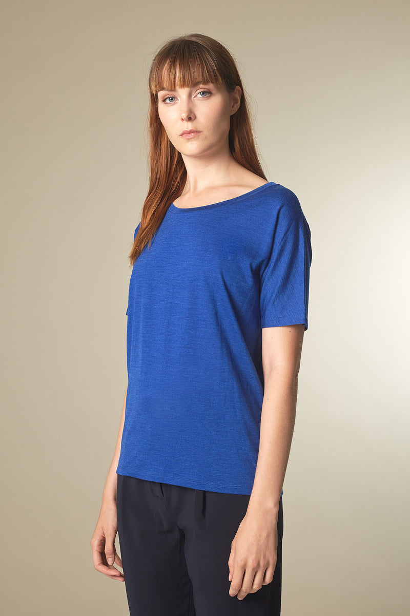 BATTY T-shirt in Merino-Tencel ultramarin Passform relaxed vordere Ansicht