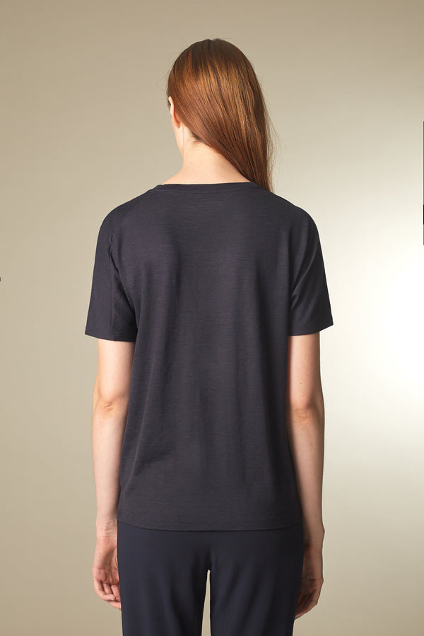 BATTY T-shirt in Merino midnight Passform relaxed hintere Ansicht