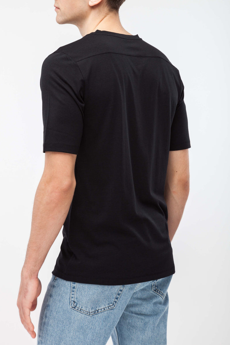 BLEND T-Shirt in Tencel schwarz Passform slimfit hintere Ansicht