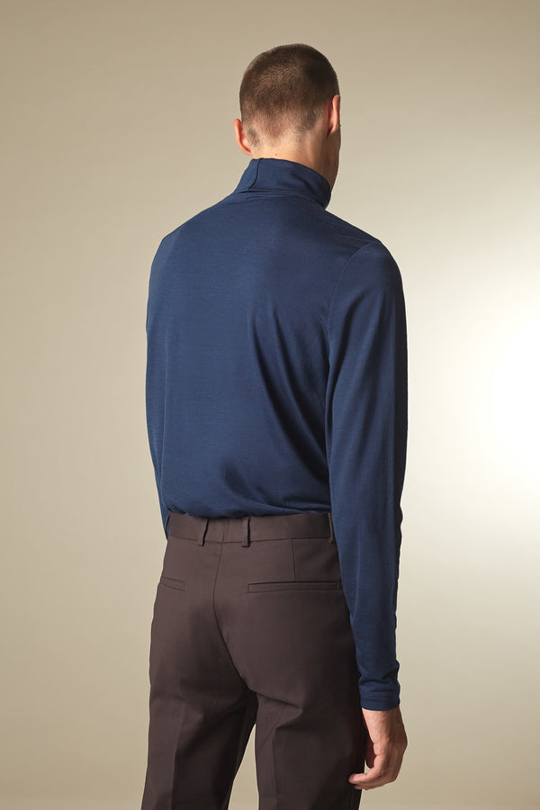 COVER Langarmshirt in Merino TENCEL™ navy Passform slimfit hintere Ansicht