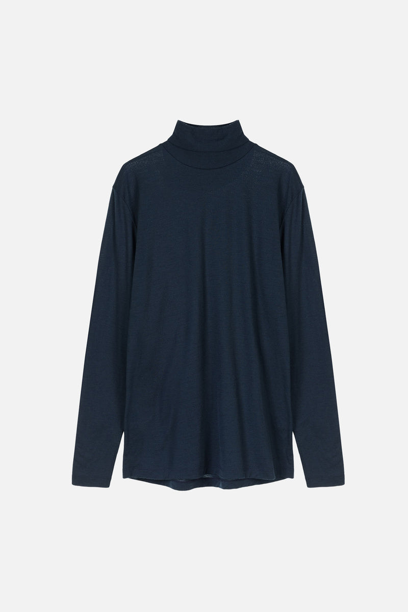 COVER Langarmshirt in Merino midnight Passform slimfit freisteller