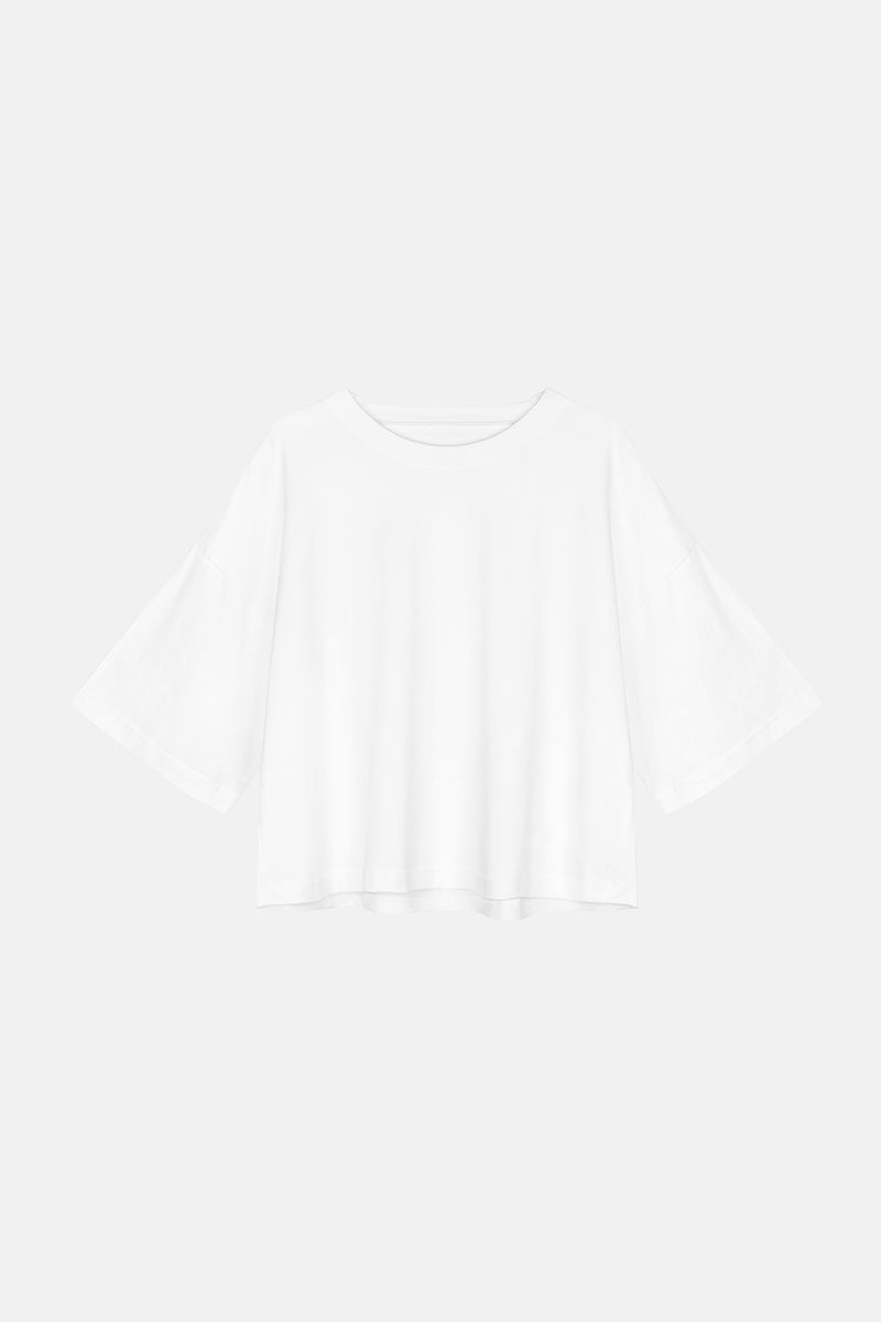 CROP Croptop in Baumwolle weiß Passform oversized fREISTELLER