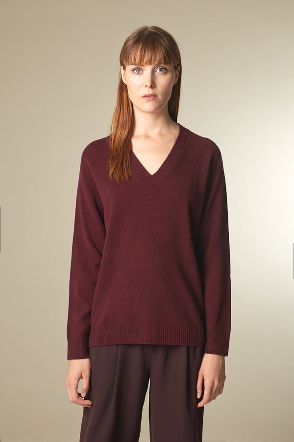 COSE Langarmshirt in Merino rot Passform relaxed vordere Ansicht