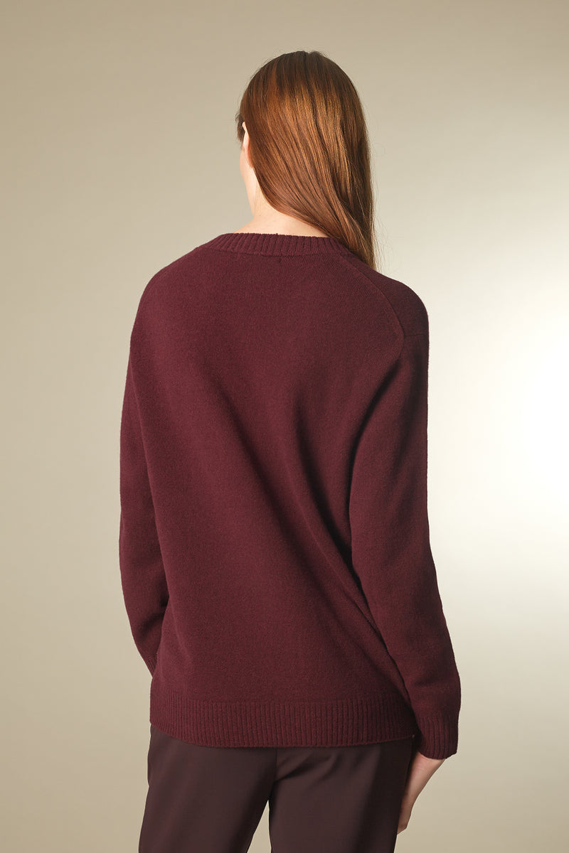 COSE Langarmshirt in Merino rot Passform relaxed hintere Ansicht