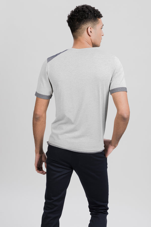 ICONIC T-Shirt in Seaqual grau melange Passform slimfit hintere Ansicht