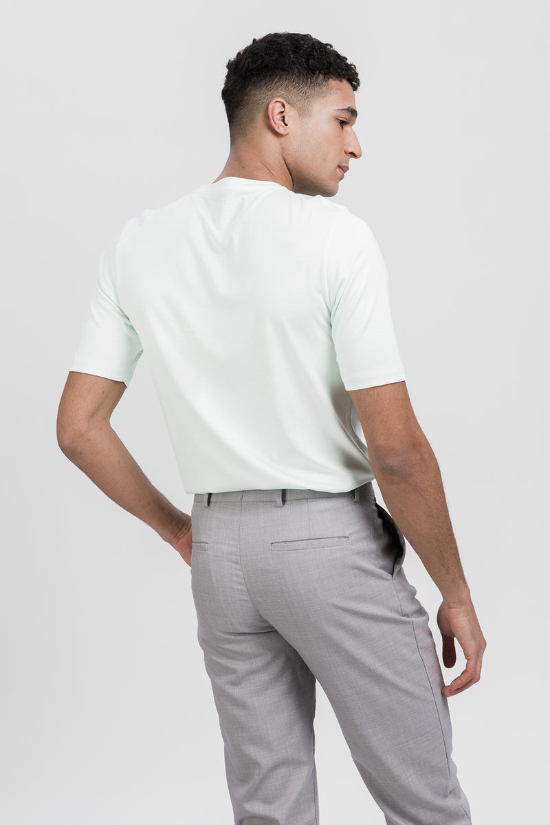 ICONIC T-Shirt in Tencel mint Passform slimfit hintere Ansicht