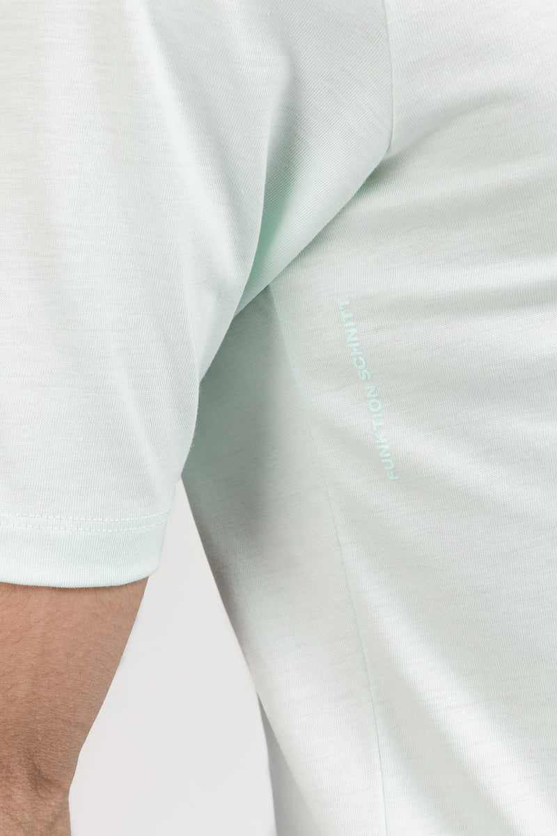 ICONIC T-Shirt in Tencel mint Passform slimfit detail Ansicht