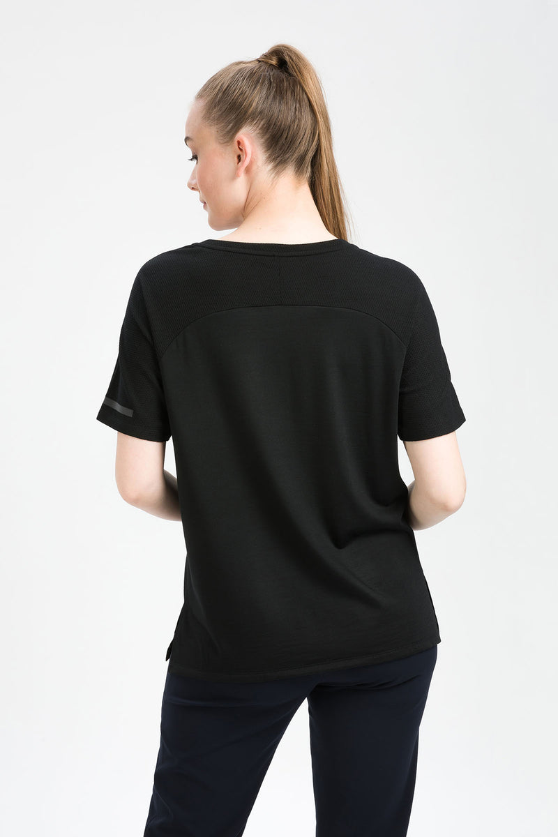 INTENSE T-Shirt in Merino schwarz Passform normal hintere Ansicht