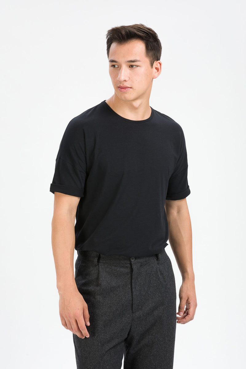 RECHARGER T-Shirt in SeaCell schwarz Passform relaxed vordere Ansicht