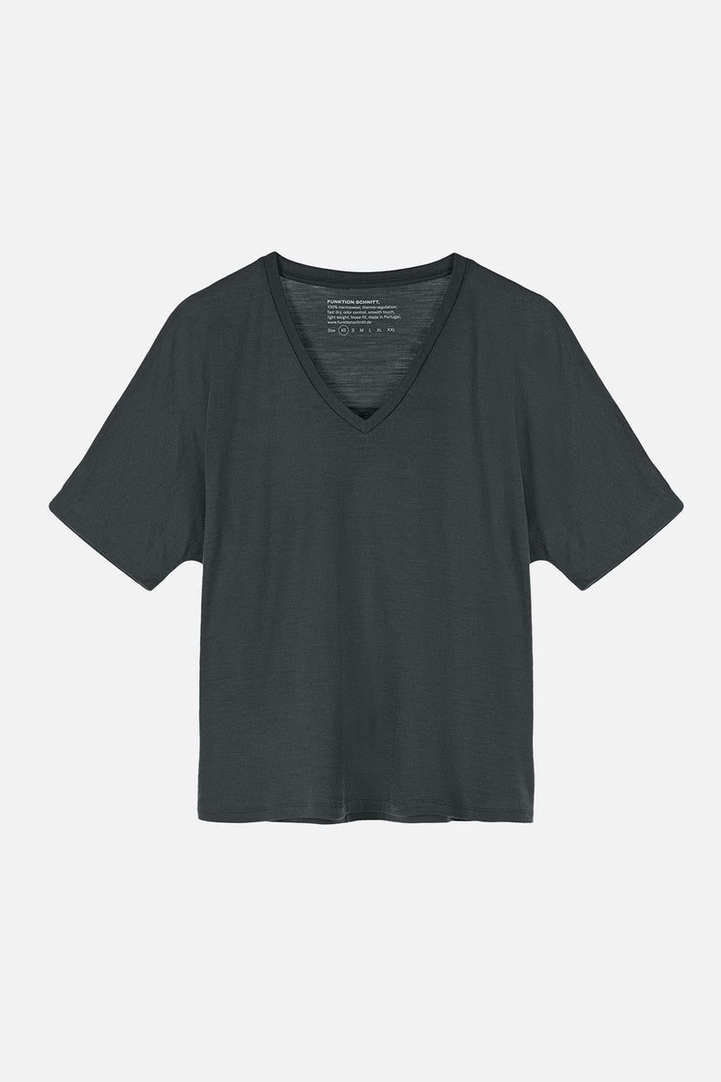 AMAZE T-Shirt in Merino grau graphite anthrazit Passform relaxed Freisteller