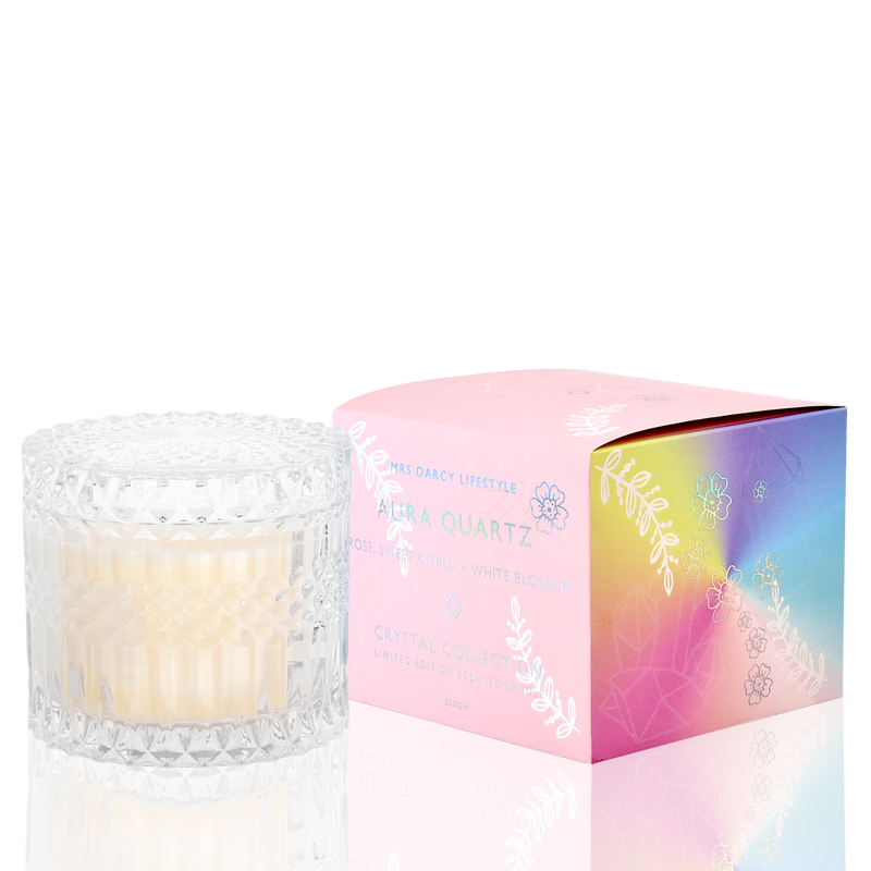 Candle Aura Quartz - Rose , Sweet Citrus + White Blossom (Limited Edition)