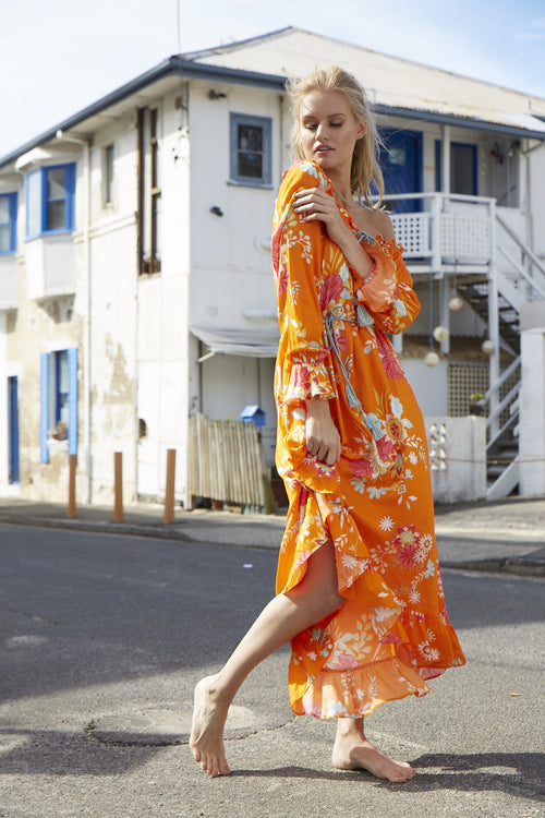 Eveille - Sweet Gypsy Tangerine Off the Shoulder Dress