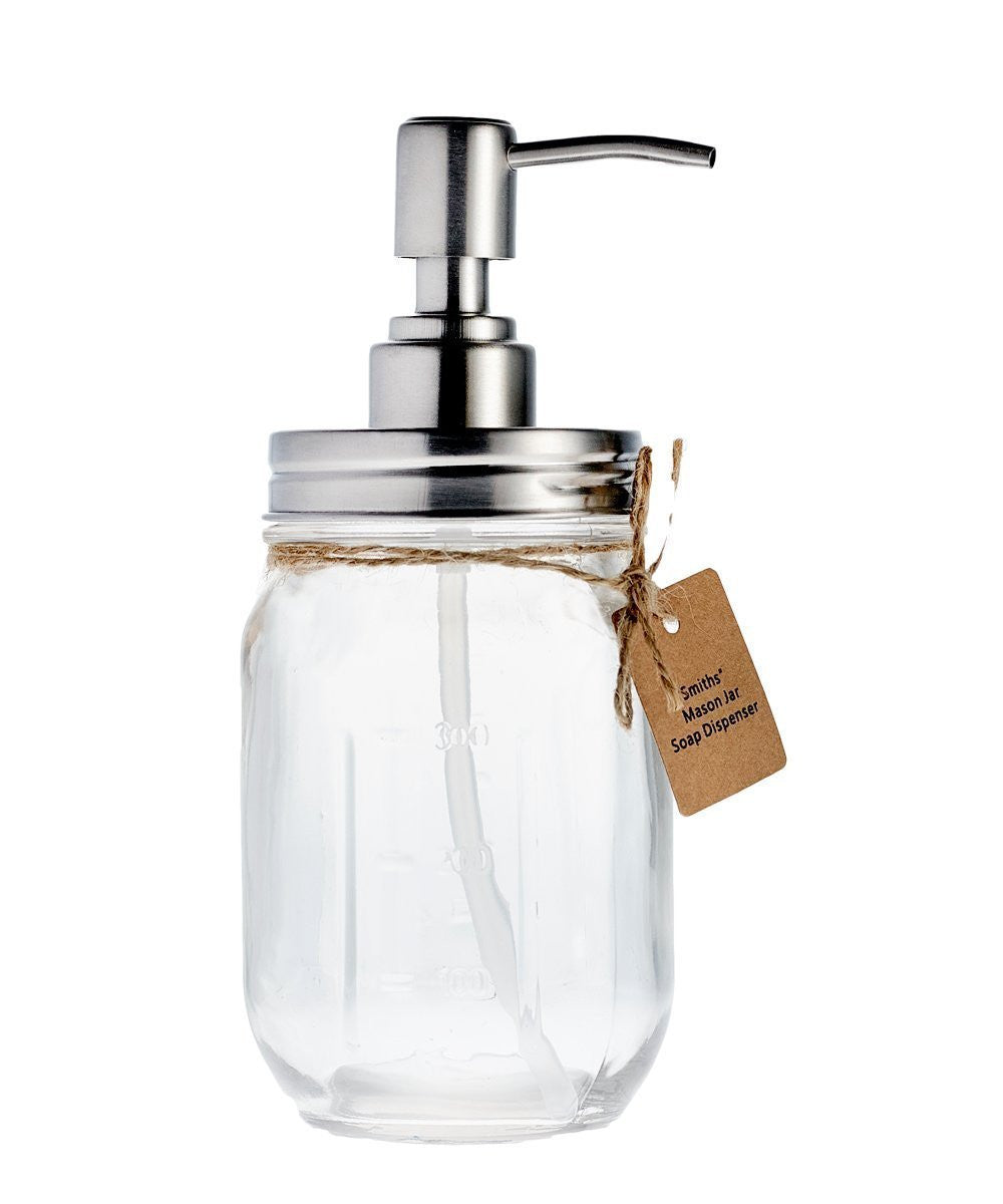 Smith's Mason Jars Countertop Soap Dispensers (Comes in Silver, Clear OR Cobalt Blue)