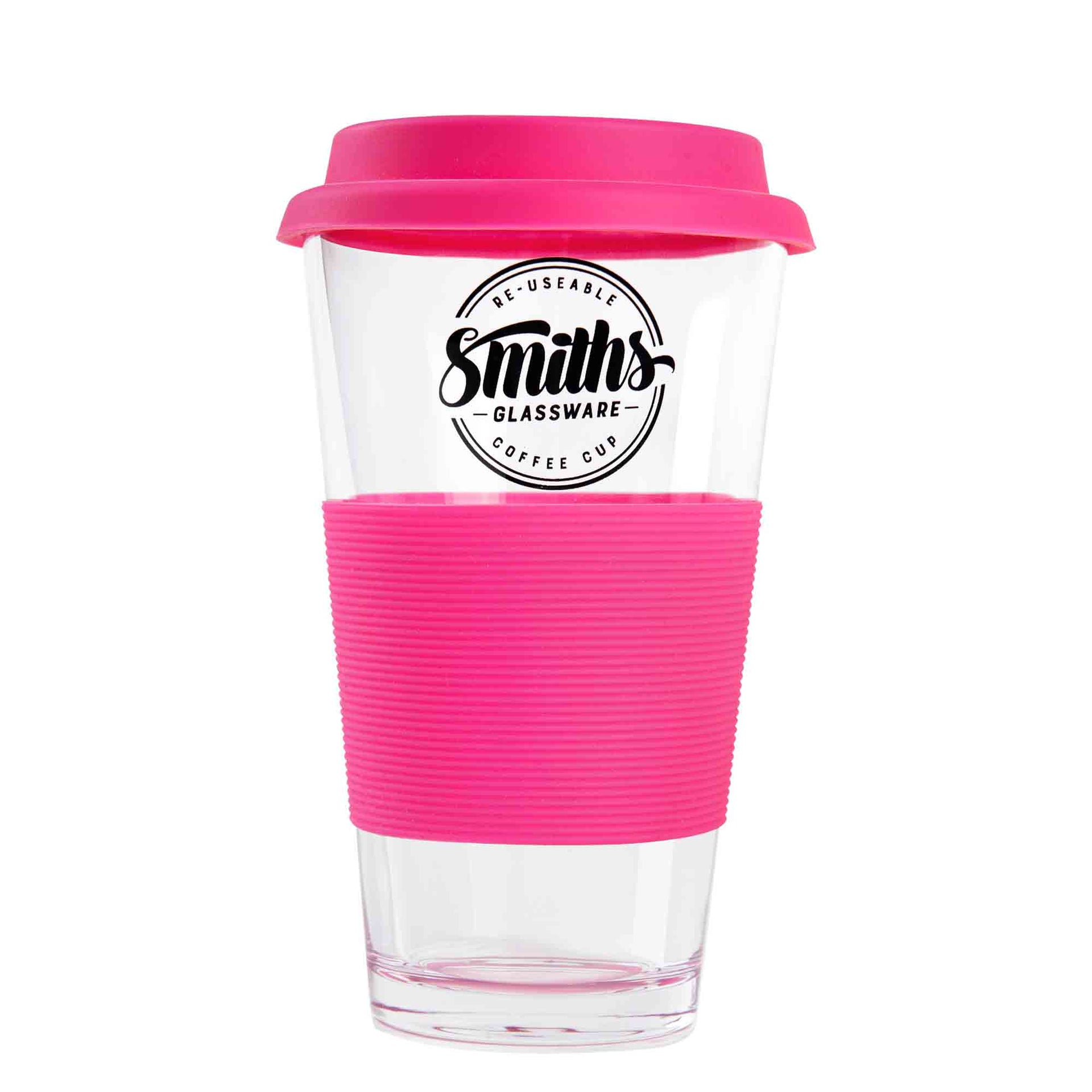 Glass Coffee Cups with Silicone Handle - Set of 2 - For Hot or Cold Beverage To-Go - Great for Office, Gym - Fits Car Drinks Holder Perfectly | Smith's Mason Jars