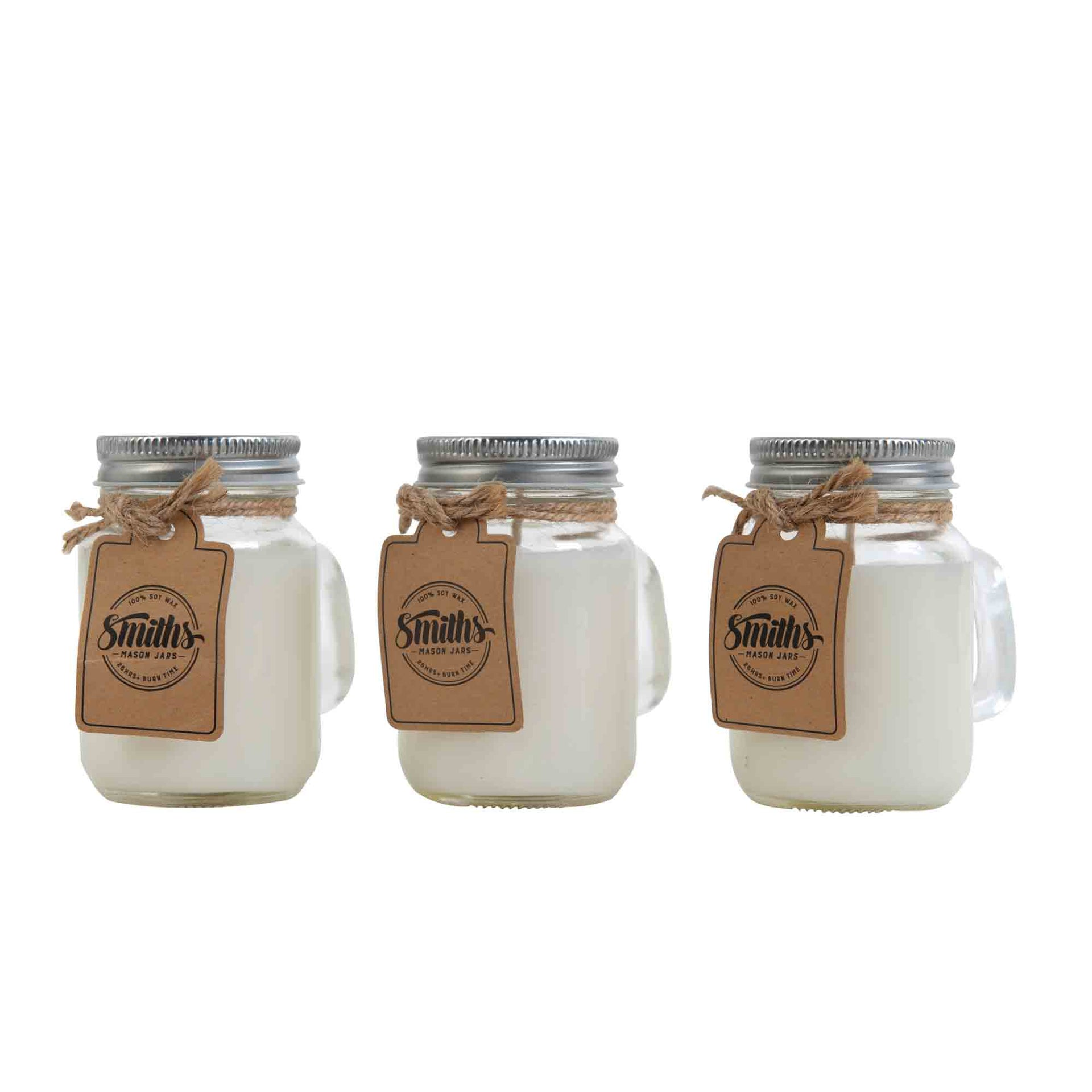 Set of 6 100% Soy Candles in Decorative Mini Mason Jars 4oz or 120ml, Organic, Vegan with Lead-free Pure Cotton Wick, lights Up to 26-hours+ Burn Time Per Candle - Scents include Mindful Lilly, Relaxing Lilac, Midnight Calm, and more