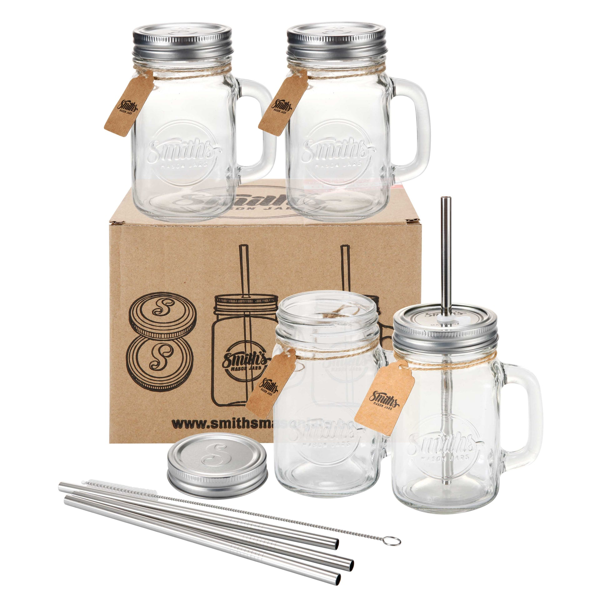 Set of 4 Mugs with Metal Straws and Lids | Smith's Mason Jars