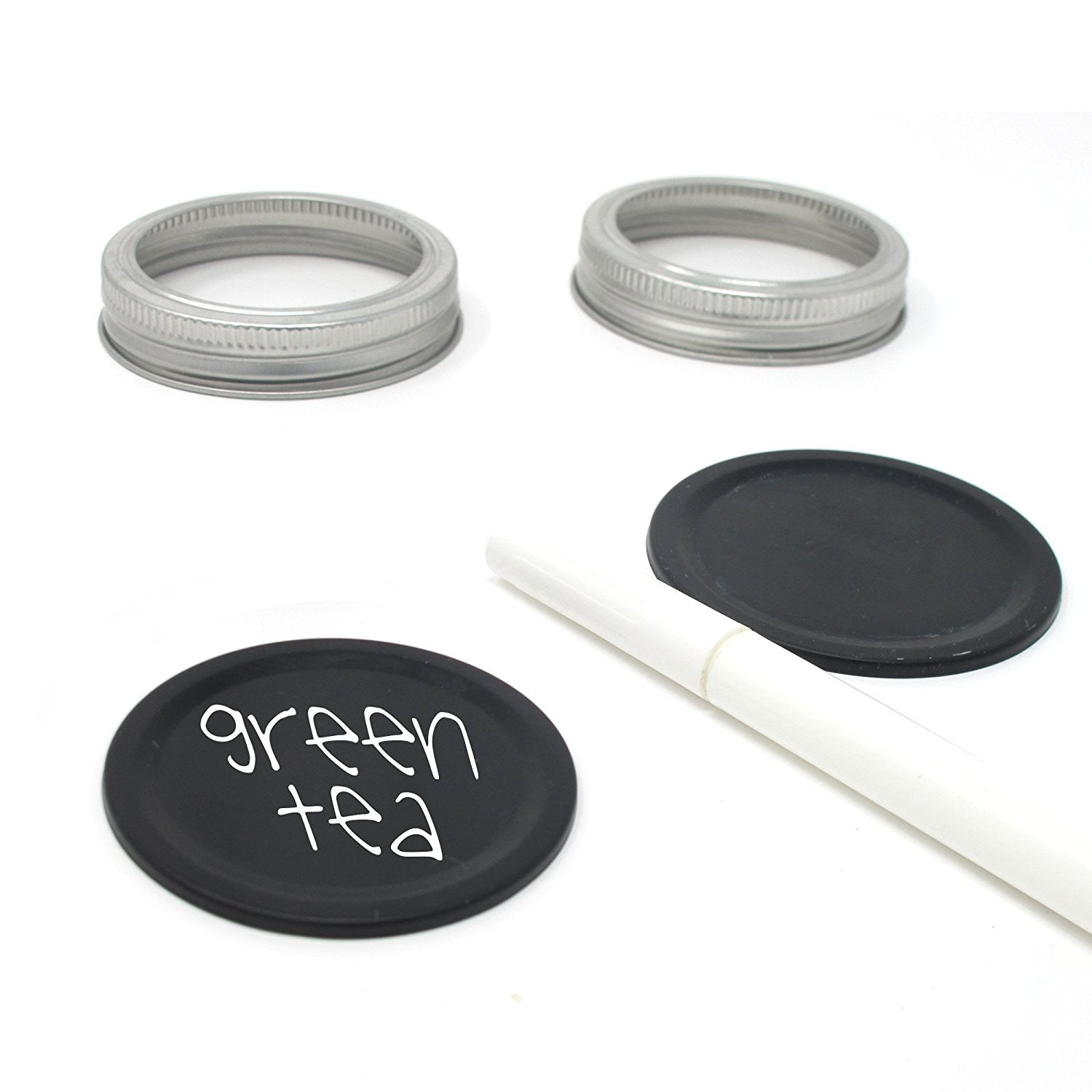 10 x Smiths Chalkboard Mason Jar Lids, reversible lids & reusable with Magic White Pen (Standard Size Mason Jars)