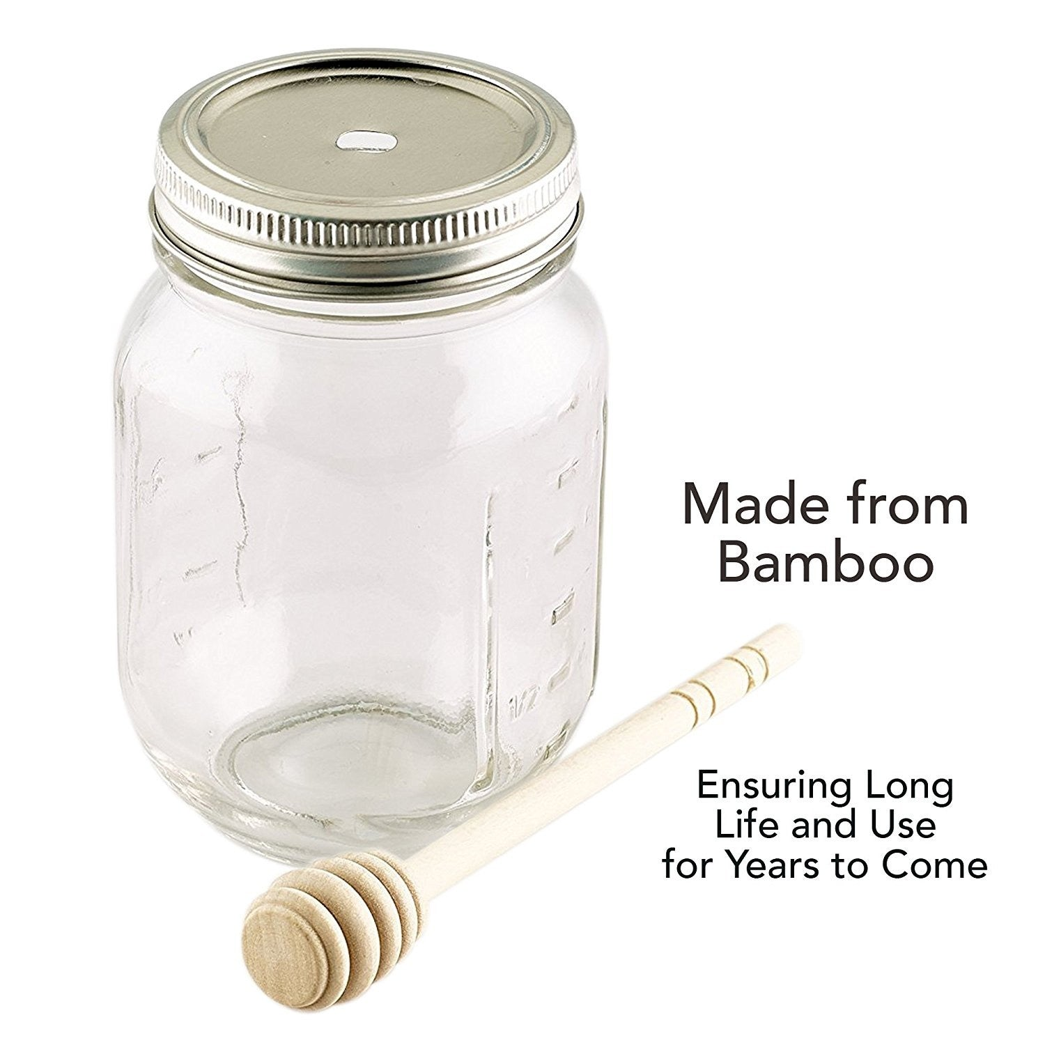 Smith's Mason Jars Lid and Bamboo Honey Dipper x 2 (Jar Not Included)