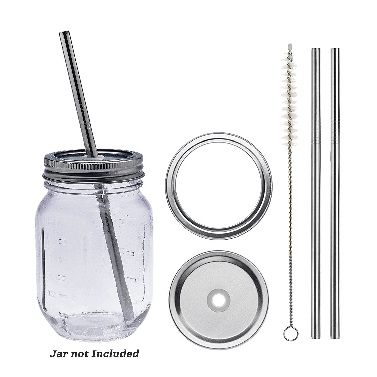Smith's Mason Jars Metal Straw and Lid x 2 (Free Cleaning Brush)