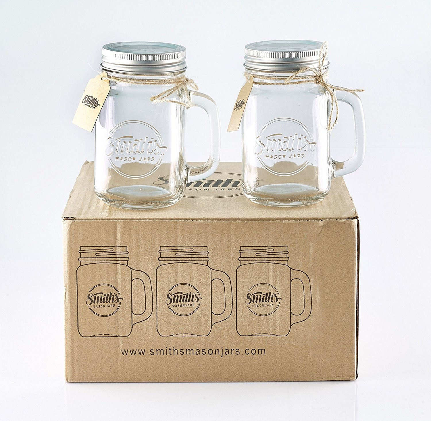 Smith's Mason Jars 16 oz Mason Jar Mugs with Lids x 6
