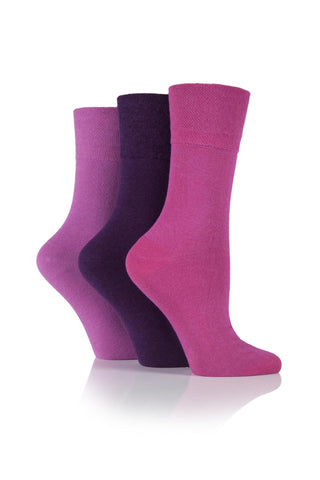 Ladies gentle grip diabetic socks pink