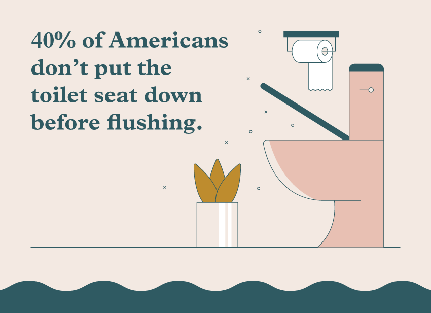 A graphic illustration displaying that 40% of Americans don't put the toilet seat down before flushing