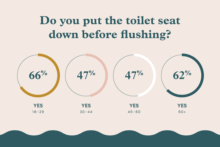 A graphic chart displaying percentages of age groups that put the toilet seat down before flushing