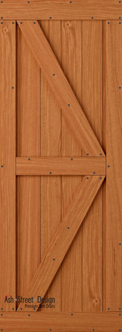 Town & Country Unassembled Barn Door Kit, KC Series, Colonial in Mahogany
