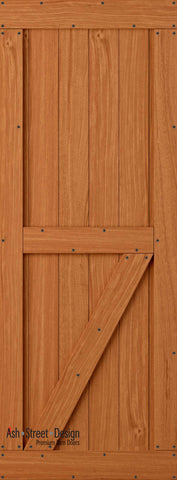 Town & Country Unassembled Barn Door Kit, KE Series, Bottom Z- in Mahogany