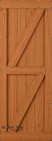Town & Country Unassembled Barn Door Kit, KF Series, Twin-Z in Mahogany*
