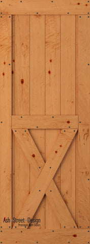 Town & Country Unassembled Barn Door Kit, KH Series, Bottom-X in Alder (Knotty)