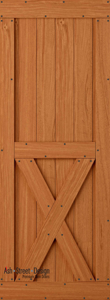 Town & Country Unassembled Barn Door Kit, KH Series, Bottom-X in Mahogany* - Ash Street Design  - 1