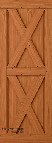 Town & Country Unassembled Barn Door Kit, KI Series, Twin-X in Mahogany*