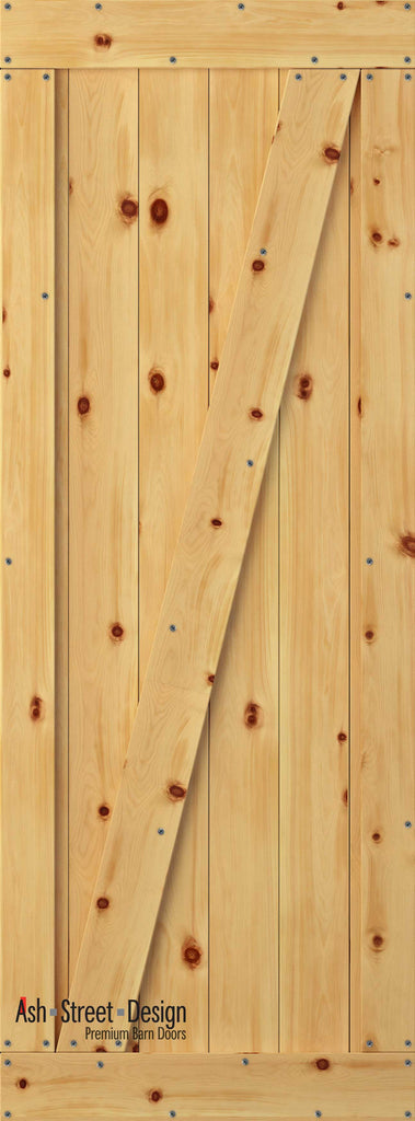 Town & Country Unassembled Barn Door Kit, KD Series, Z-Style in Pine* - Ash Street Design  - 1