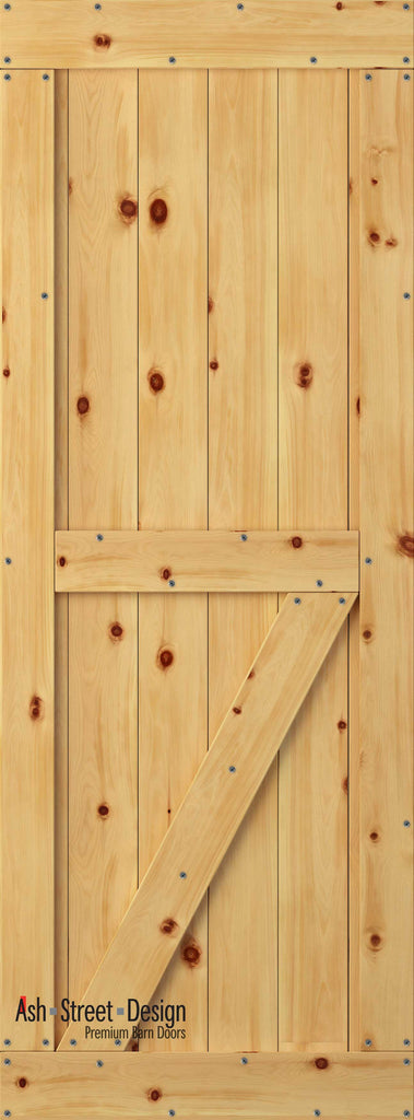 Town & Country Unassembled Barn Door Kit, KE Series, Bottom Z  in Pine* - Ash Street Design  - 1